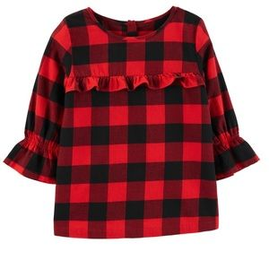 Carter's red and black ruffled top